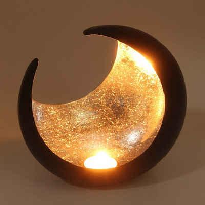 Casa Moro Windlicht »Orientalischer Teelichthalter Ravi Ø 19cm aus Metall, marokkanisches Halbmond Windlicht Hilal Kerzenständer« (1 Stück), WLM2624
