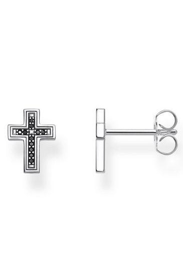 THOMAS SABO Paar Ohrstecker »Kreuz schwarz, H2112-643-11«, mit Zirkonia