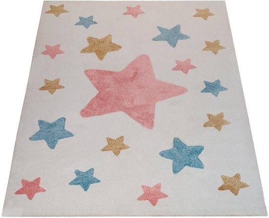 Kinderteppich »Capri 330«, Paco Home, rechteckig, Höhe 14 mm, Kinder Design, Stern Motiv in Pastell-Farben