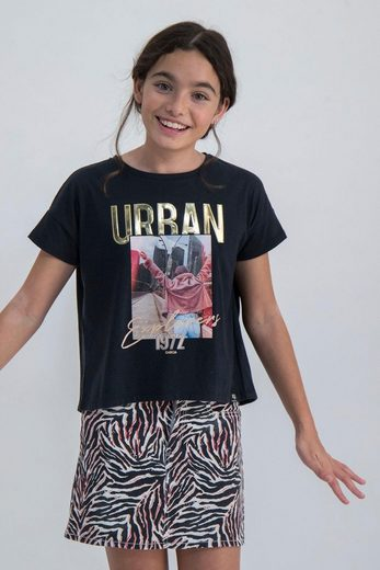 Garcia T-Shirt »URBAN« erhabener Druck in Gold