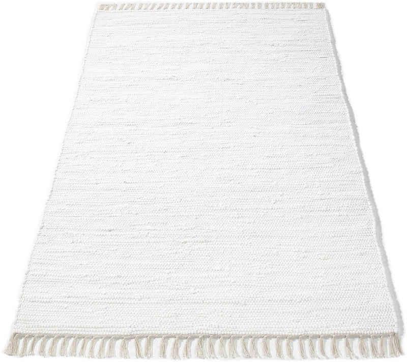 Teppich »Finni«, DELAVITA, rechteckig, Höhe 4 mm, Wendeteppich mit Fransen, Wohnzimmer
