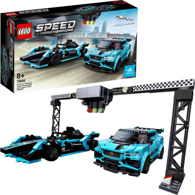 LEGO® Konstruktionsspielsteine »Formula E Panasonic Jaguar Racing GEN2 car & Jaguar I-PACE eTROPHY (76898), LEGO® Speed Champions«, (565 St), Made in Europe