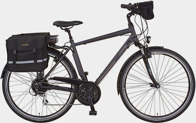 E-Bike »Entdecker e900«, 24 Gang Shimano Acera Schaltwerk, Kettenschaltung, Heckmotor 250 W, (Set, 3 tlg., mit Fahrradtaschen)