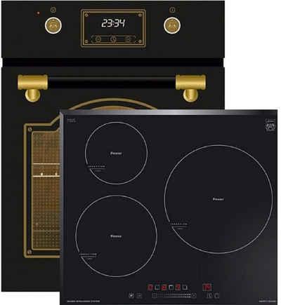 Kaiser Küchengeräte Induktions Herd-Set EH 4796 AD+KCT 6736 FI, Retro Backofen Einbaubackofen 45 cm, Autark, 50 L, 9 Funktionen,Teleskopauszug,Intelligent Sysytem,Easy clean-Emaille,Art Déco-Leder bedeckte Griffstange+Induktionsherd / Autark / 3 QuickHeat Zonen alle mit PowerBooster / Sensor-Bedienung mit Funktionsdisplay /