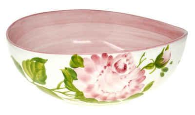 Lashuma Dessertschale »Rose«, Keramik, Handgefertigte Servierschale, Obstschüssel rund