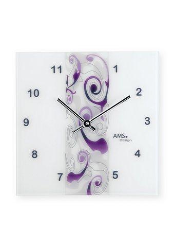 Quartz-Wanduhr, AMS in weiß-violett