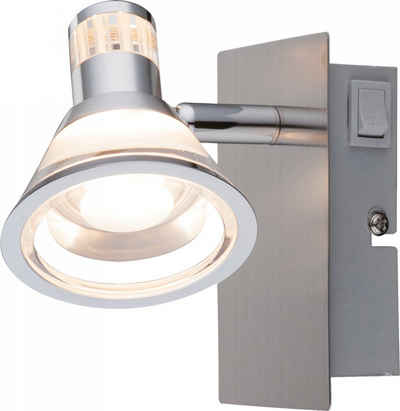 Globo LED Wandleuchte, Eleganter 5W LED Strahler Wand Spot Schlafzimmer Leselicht Nickel Globo 56956-1