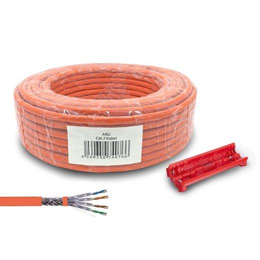 ARLI Installationskabel, (2500 cm), Cat7 Verlegekabel 25 m Netzwerkkabel + Universal Abisoliermesser Kabelmesser