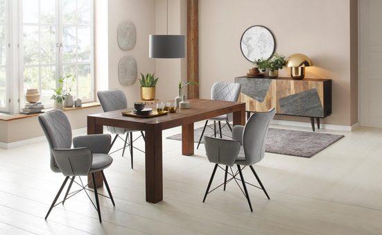 Home affaire Essgruppe »Gimbi«, (Set, 5-tlg), bestehend aus 1 Esstisch aus massivem Holz und 4 Stühlen mit schönem Webstoff Bezug
