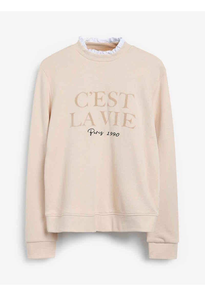 Next Sweatshirt »Rundhals-Pullover mit Spitze« (1-tlg)