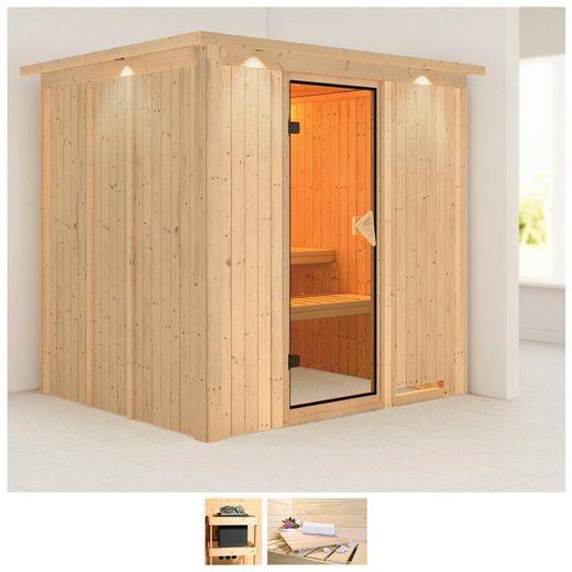KARIBU Sauna »Daria«, 210x184x202 cm, ohne Ofen, Dachkranz