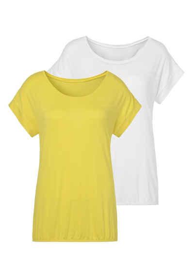 Vivance T-Shirt (2er-Pack) mit elastischem Saumabschluss