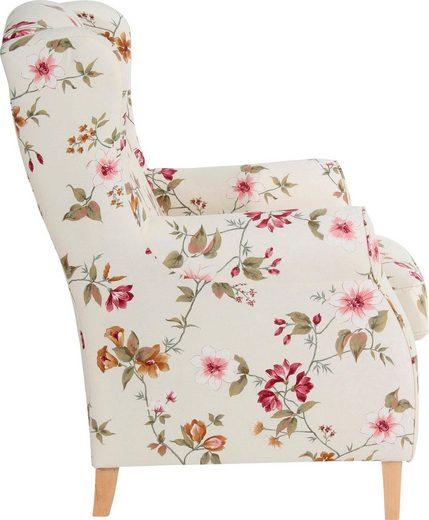 Max Winzer® Ohrensessel »Luke«  mit Kederverzierung  mit Blumenmuster