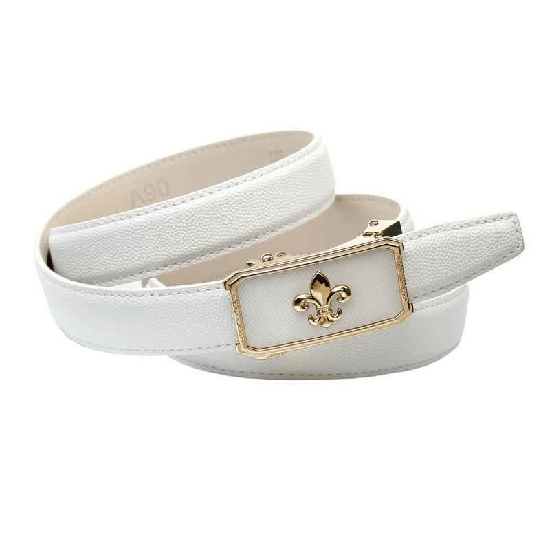 Anthoni Crown Ledergürtel Automatik Gürtel in weiß mit Lilie