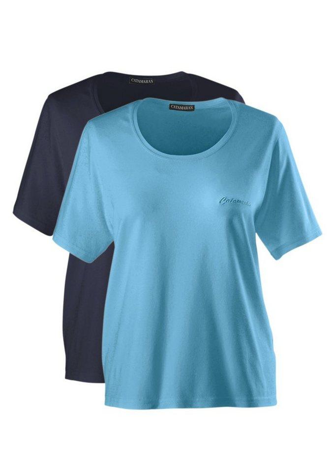 Catamaran Set: Kurzarm-Shirt in herrlich angenehmer Wohlfühl-Qualität (2 Stck.) in marine-türkis