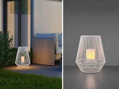 meineWunschleuchte Außen-Tischleuchte, 2er SET Solar LED Lampen Boden-Laterne groß & klein für draußen Balkon & Garten, Außen Tisch-Beleuchtung mit Gitter-Lampenschirm