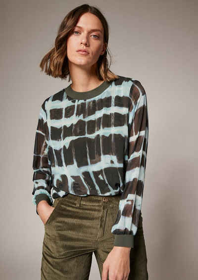 comma casual identity Langarmbluse »Musterbluse mit Ripp-Details«