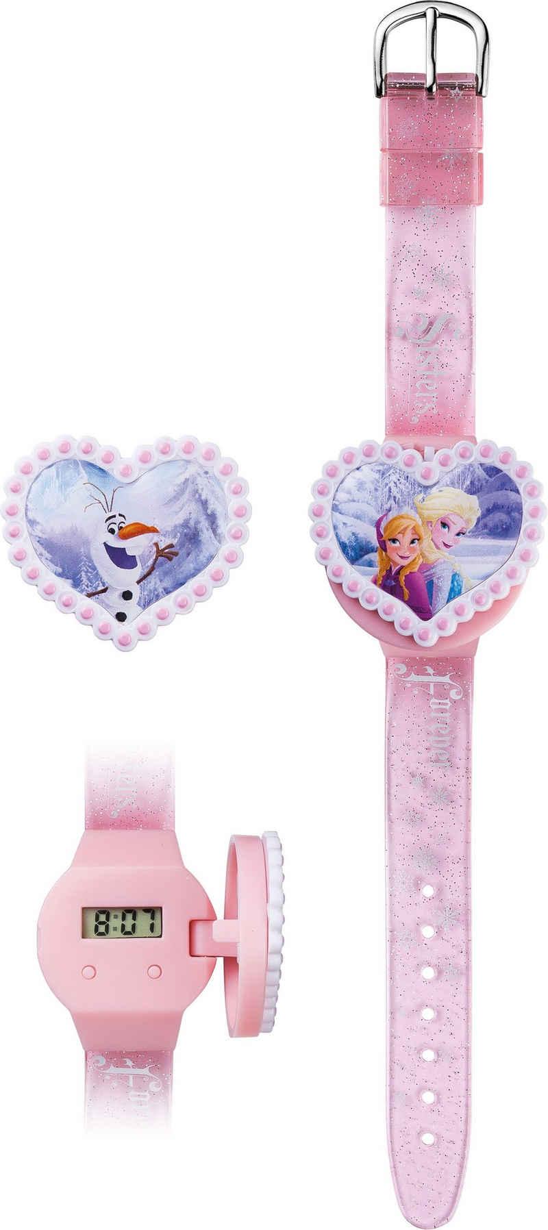 Joy Toy Digitaluhr »Disney's Eiskönigin, 755557«, (Packung, 3-tlg., LCD-Uhr mit 2 herzförmigen Abdeckmotiven)