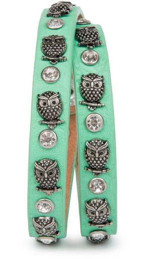 styleBREAKER Wickelarmband »Armband mit Eulen Nieten & Strass«, Armband mit Eulen Nieten & Strass
