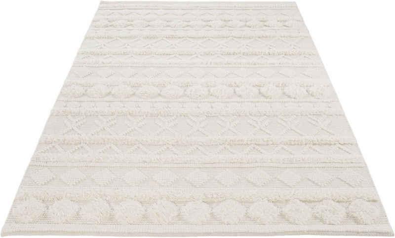 Wollteppich »Hägga«, LUXOR living, rechteckig, Höhe 15 mm, reine Wolle, handgewebt, Hoch-Tief Struktur, Wohnzimmer