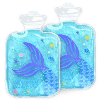 Navaris Wärmflasche, Kinder Kühlkissen Wärmekissen 2 teilig - 2x Meerjungfrau Thermokissen warm und kalt - Gelkissen Kompresse Kühlpack - Gel Kühlpads