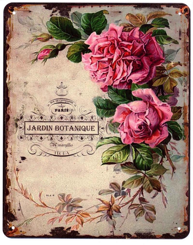 Moritz Metallschild »Blechschild Rose Jardin Botanique«, 20 x 25cm Vintage Retro Deko Schild Metallschild Wandbild Wanddeko Schild Deko Spruch