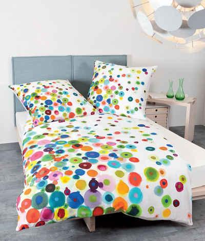 Bettwäsche »Satin«, Traumschloss, bunte Punkte auf weißem Hintergrund