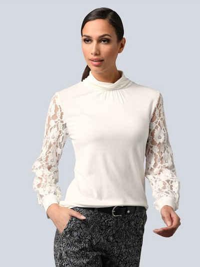 Alba Moda Spitzenshirt mit Ärmeln aus Spitze