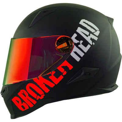 Broken Head Motorradhelm »BeProud Rot - Integralhelm - Streethelm« (mit klarem und rot verspiegeltem Visier), inklusive 2 Visieren