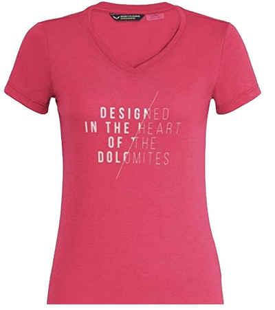 Salewa T-Shirt »SALEWA Slash DRI-Release T-Shirt sportliches Damen Lauf-Shirt Alltags-T-Shirt mit Frontprint Rosa/Rot«