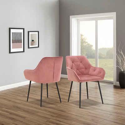 INOSIGN Armlehnstuhl »Betty« (Set, 2 Stück), im 1er und 2er Set erhältlich, mit weichem Samtvelours Bezug, mit zwei unterschiedlichen Beinfarben schwarz und eichefarben auswählbar, Sitzhöhe 49 cm