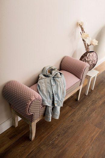 my Flair Polsterbank »Lara«, Beingestell aus massivem Tannenholz, im Shabby-Look, mit einem pflegeleichten, gepunkteten Bezugsstoff, Breite 104 cm