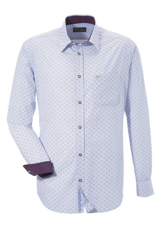 Herren Murk Trachtenhemd in modischem Print blau, rot | 04051969420701