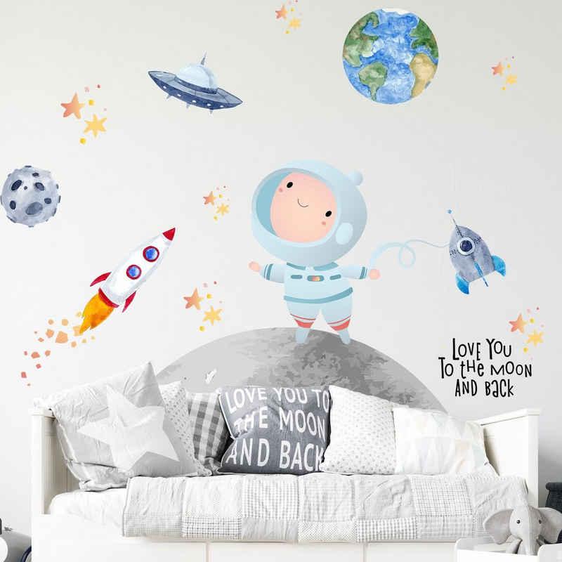 WANDKIND Wandtattoo »Astronaut Weltraum Rakete Mondreise Erde V295«, Selbstklebend
