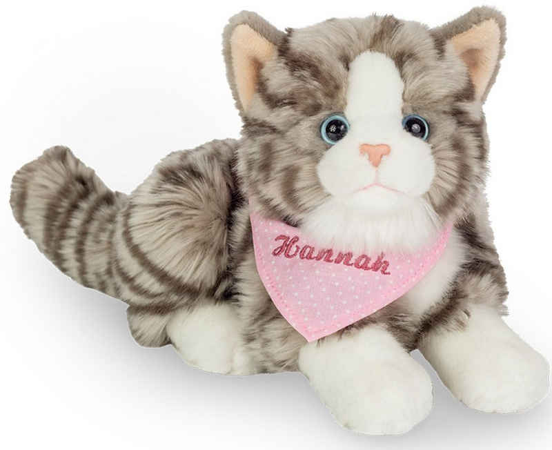 Teddy Hermann® Kuscheltier »Katze grau mit rosa Halstuch, 20 cm«, mit individueller Bestickung