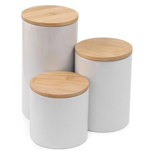 Praknu Vorratsdose »3er Keramik Dosen Set«, Keramik, (Set, 3-tlg., 3 Stück Vorratsdosen Set in Weiß mit jeweils 3 Bambusdeckel, 3 Dichtungsringe und Selbstklebende Etiketten), Weiß - Luftdicht mit Deckel - Spülmaschinenfest - inkl. Etiketten und Stift