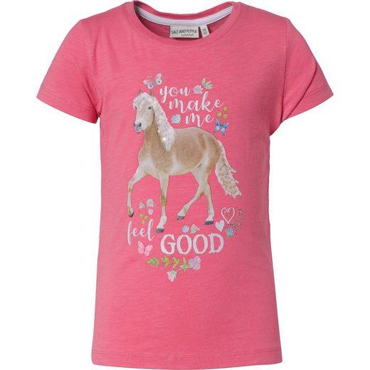 Salt & Pepper T-Shirt mit Pailletten für Mädchen, Pferde