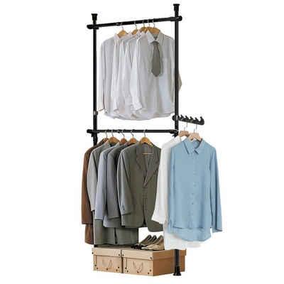 SoBuy Kleiderständer »FRG109«, Teleskop Garderoben System mit 2 Kleiderstangen Kleideraufbewahrungssystem Regalsystem Kleiderständer schwarz