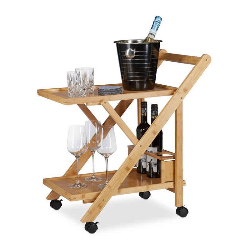 relaxdays Küchenwagen »Küchenwagen Bambus mit 2 Ablagen«