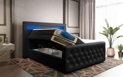 Baidani Boxspringbett »Sonno«, mit Stauraum, LED und USB - Anschluss, inkl. Topper und Matratze