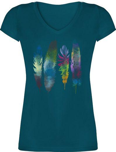 Shirtracer T-Shirt »Federn Wasserfarbe Watercolor Feathers - Kunst Outfit - Damen T-Shirt mit V-Ausschnitt« Anker Blumen & Co.