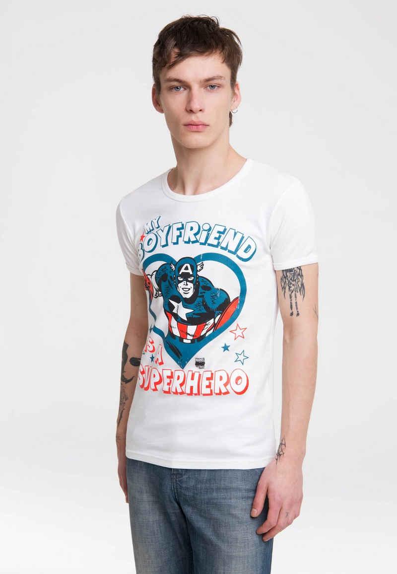 LOGOSHIRT T-Shirt mit Captain America-Frontprint