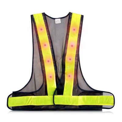 kwmobile Schutzweste, LED Warnweste Reflektor Sicherheitsweste - Security Weste mit 16 roten LED Lampen - Reflektierende Streifen Warnweste für z.B. Joggen Reiten