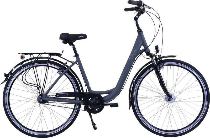 HAWK Bikes Cityrad »HAWK City Wave Deluxe Grey«, 7 Gang Shimano Nexus Schaltwerk