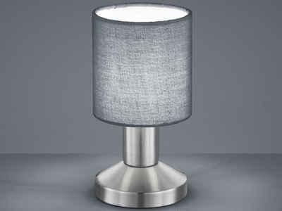meineWunschleuchte LED Tischleuchte, Klein, Lampenschirme Stoff Grau, Berührungs-Schalter, Lampe Fensterbank, Nachttisch-Lampe mit Touch-Schalter, Stecker