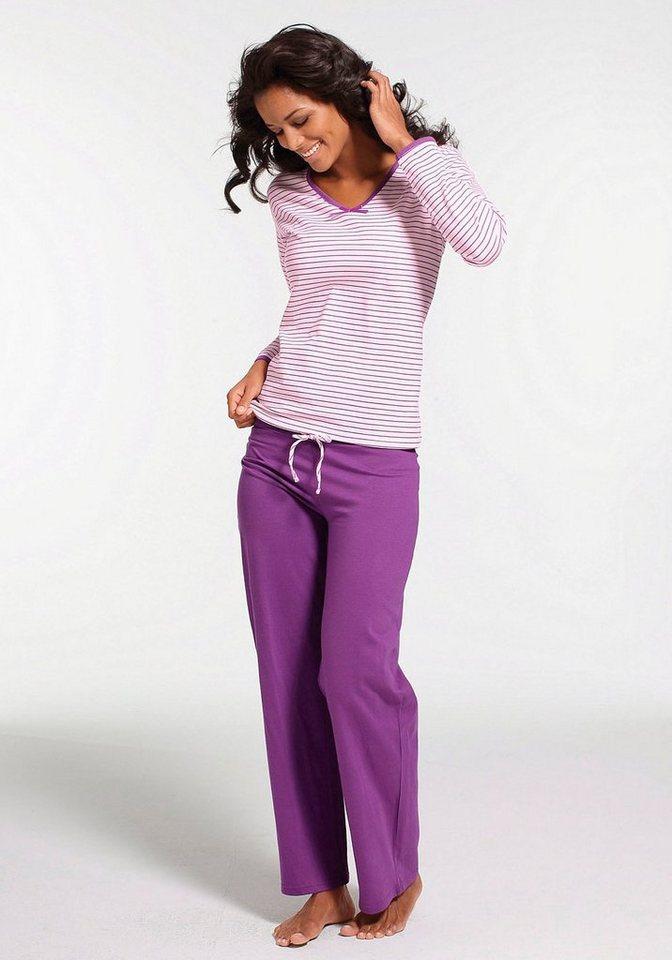 H.I.S Gestreifter Pyjama mit leicht ausgestelltem Hosenbein in rosa-lila