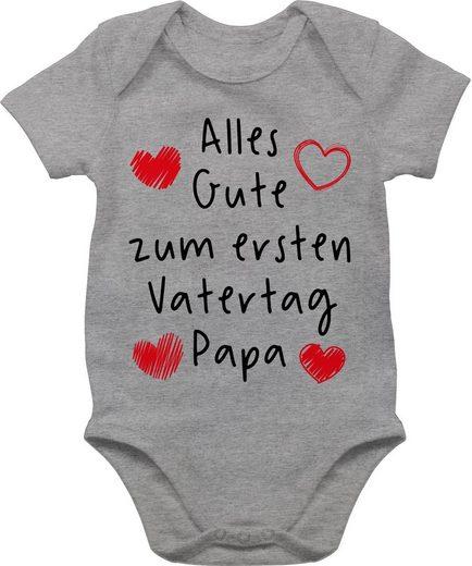 Shirtracer Shirtbody »Alles Gute zum ersten Vatertag Handschrift schwarz - Papa und Vater Geschenk Baby - Baby Body Kurzarm« Vatertag Geschenke Tochter und Sohn