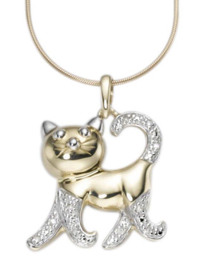 firetti Halsschmuck: Anhänger ohne Kette »Katze« - Sinnbild für Selbstbestimmung und Freiheit! in goldfarben