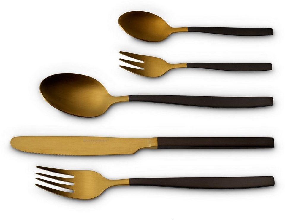 Goldenes Besteck Essbesteck Set für 4 Personen aus DE