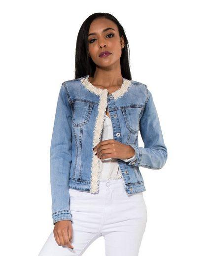Simply Chic Jeansjacke »3082« Damen Jeansjacke mit Glitzer Perlen Helles Vintage Denim Jacket